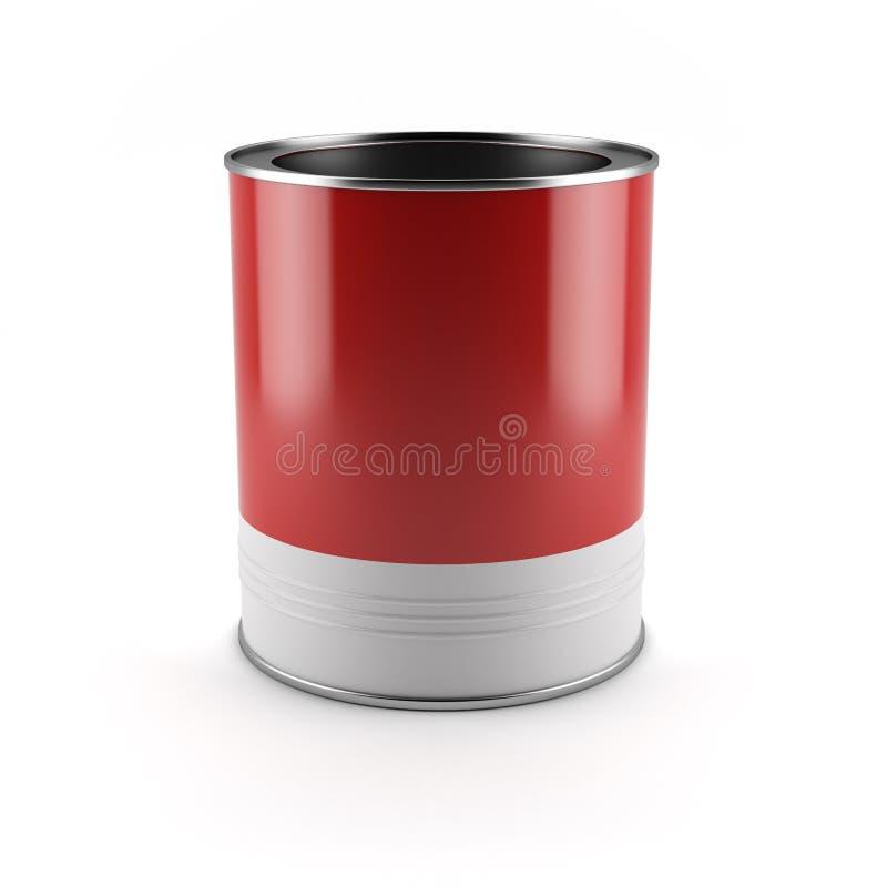 Röd målarfärgbehållare royaltyfri illustrationer