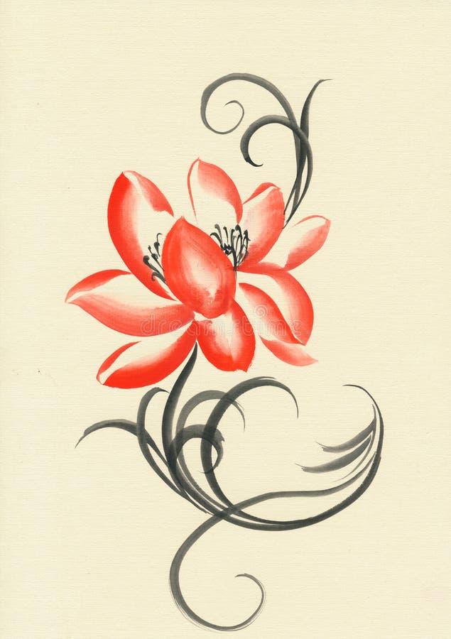 Röd målning för vattenfärg för Lotus blomma stock illustrationer