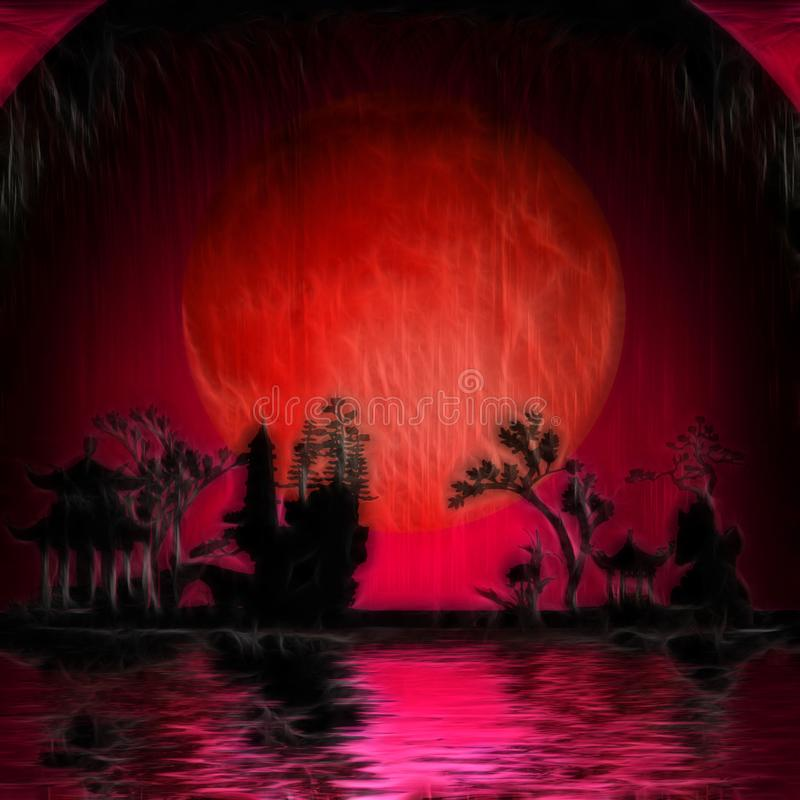 Röd måne Asien vektor illustrationer