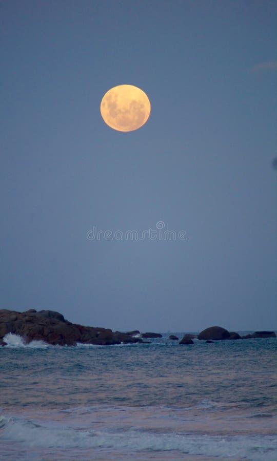 Röd måne för blod vid havet fotografering för bildbyråer