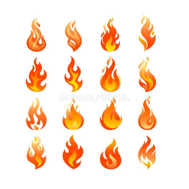 Röd mall för vektor för fastställd design för logo för bränningbrandflamma vektor illustrationer