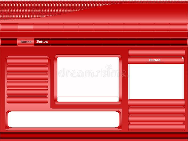röd mallwebsite royaltyfri illustrationer