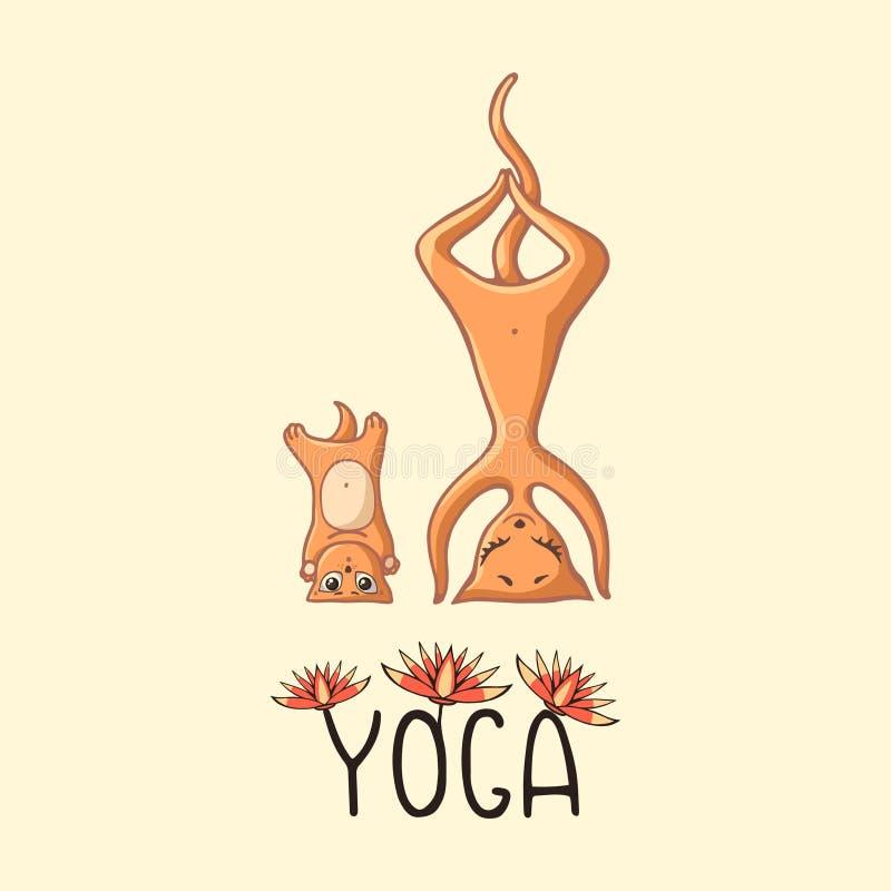 Röd Mamma-katt med en behandla som ett barnkattunge som gör yoga med inskriften och lotusblommorna vektor illustrationer