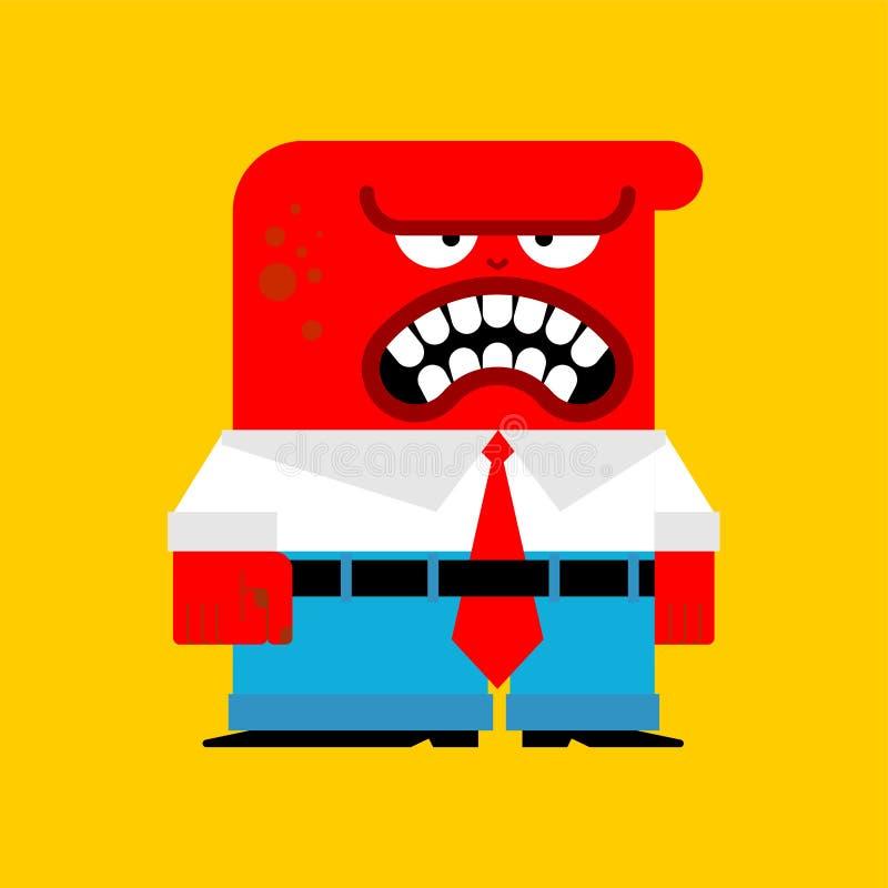 Röd man för ilska Ond arbetare Ilsket rött framstickande också vektor för coreldrawillustration stock illustrationer