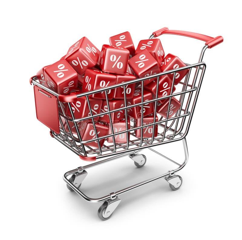 Röd marknadsshoppingvagn. Rabattbegrepp 3D vektor illustrationer