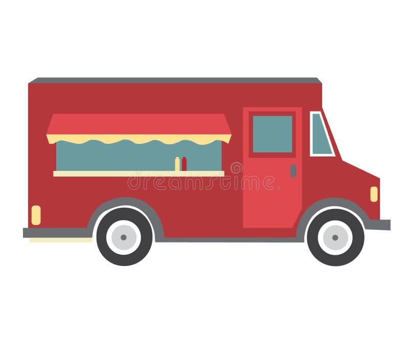 Röd matlastbil vektor illustrationer