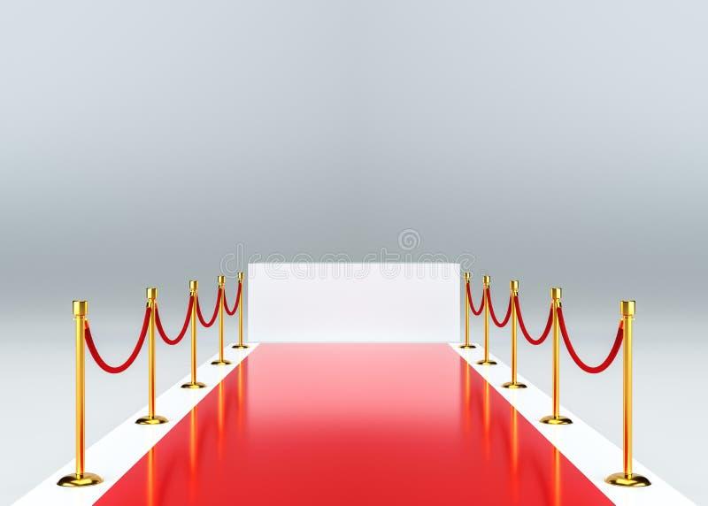 Röd matta med barriären Vit tom sockel stock illustrationer