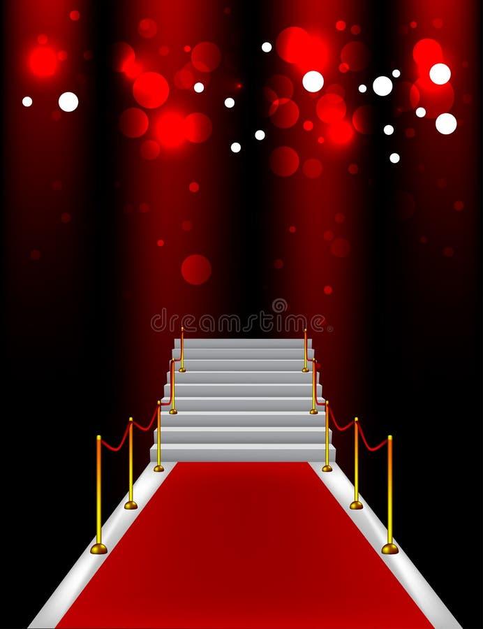 Röd matta med trappa vektor illustrationer