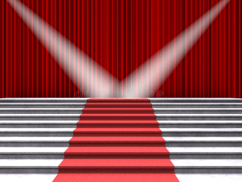 Röd matta på trappan som tänds av två strålkastare på en bakgrund av röda gardiner vektor illustrationer