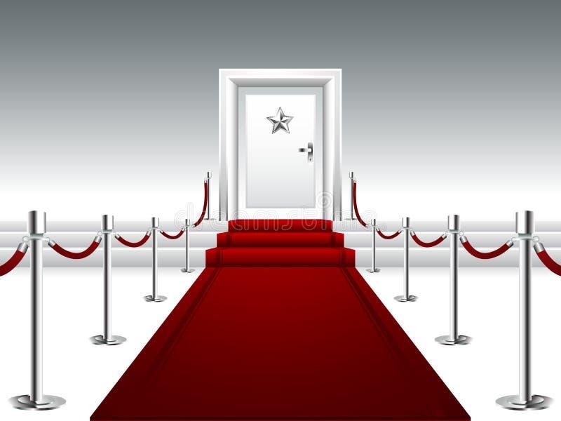 Röd matta som leder till dörren med silverstjärnan royaltyfri illustrationer