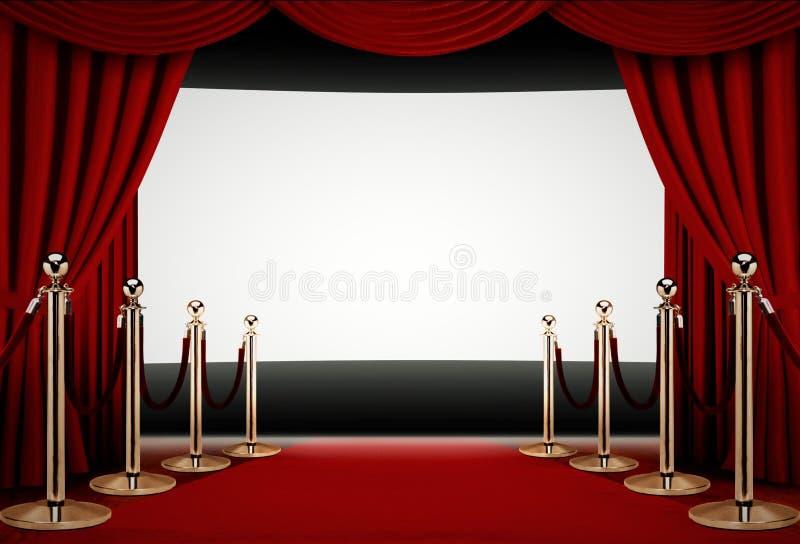 Röd matta till en filmpremiärhändelse royaltyfri illustrationer