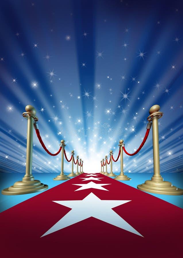 Röd matta till filmstjärnor stock illustrationer