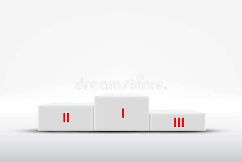 Röd matta till sockeln för vinnare för vintersport stock illustrationer