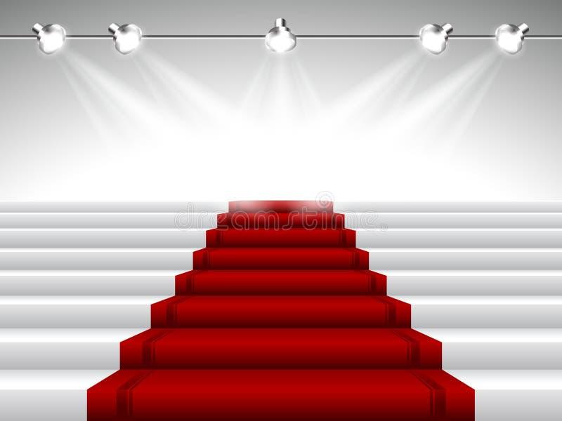 Röd matta under strålkastare stock illustrationer