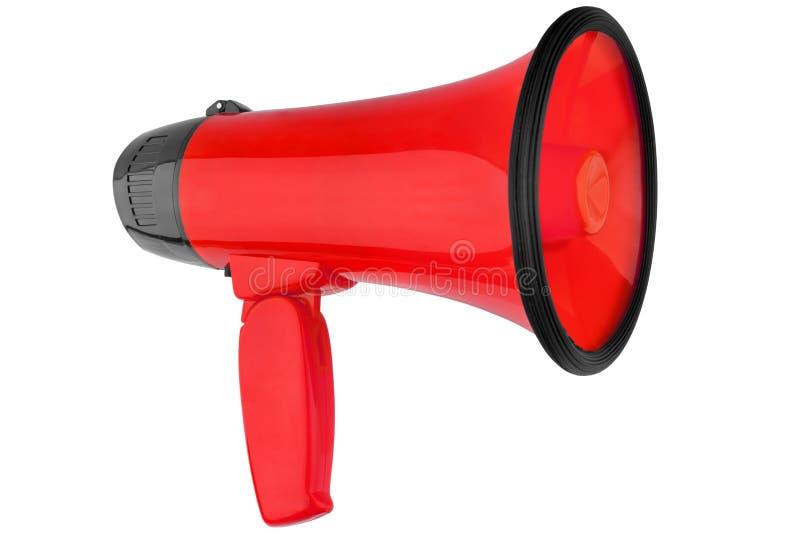 Röd megafon på vit bakgrund isolerad närbild, handhögtalaredesign, röd megafon eller illustration för talande trumpet royaltyfri foto