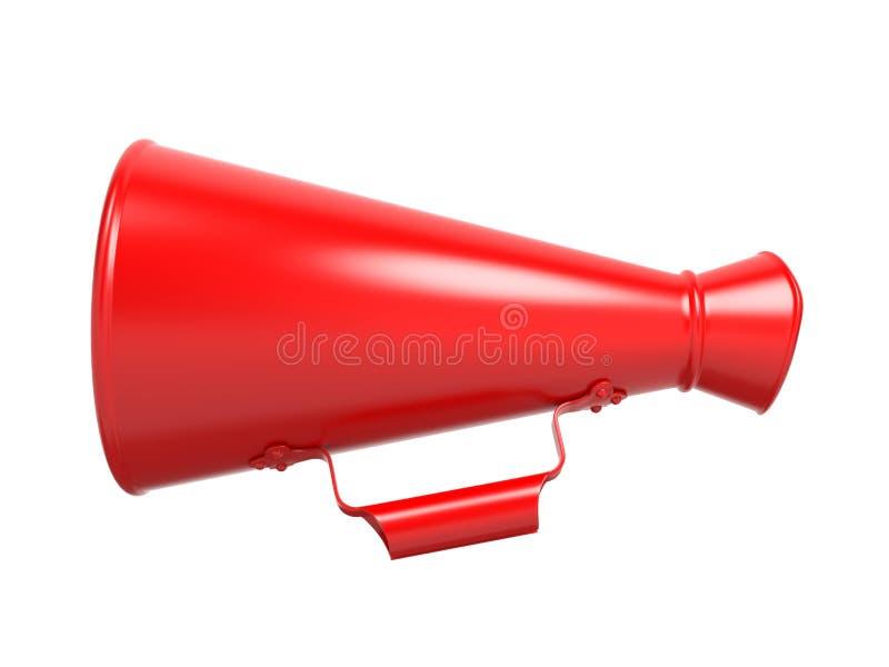 Röd megafon som isoleras på White. stock illustrationer