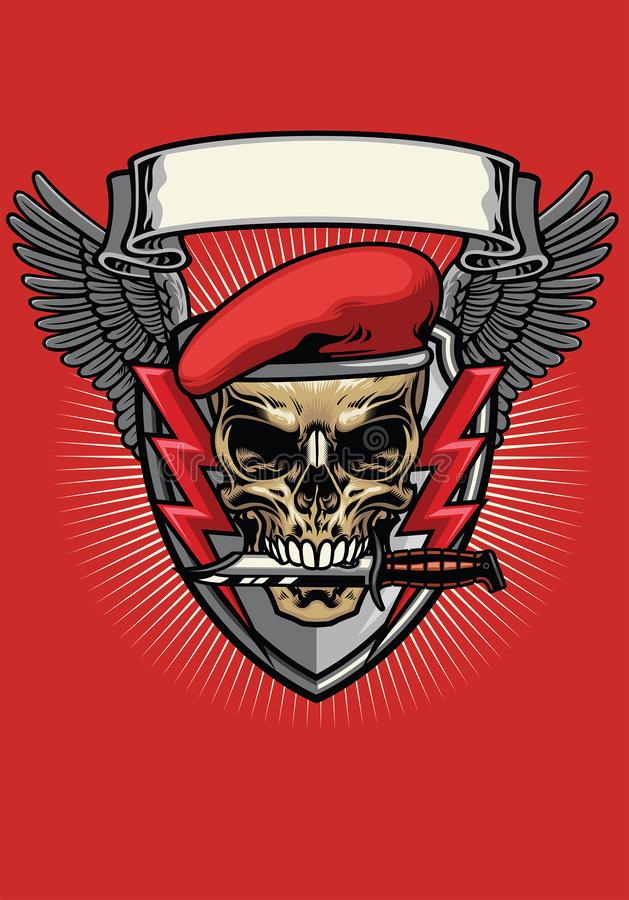 Röd militär baskerskalle med knivdesign royaltyfri illustrationer