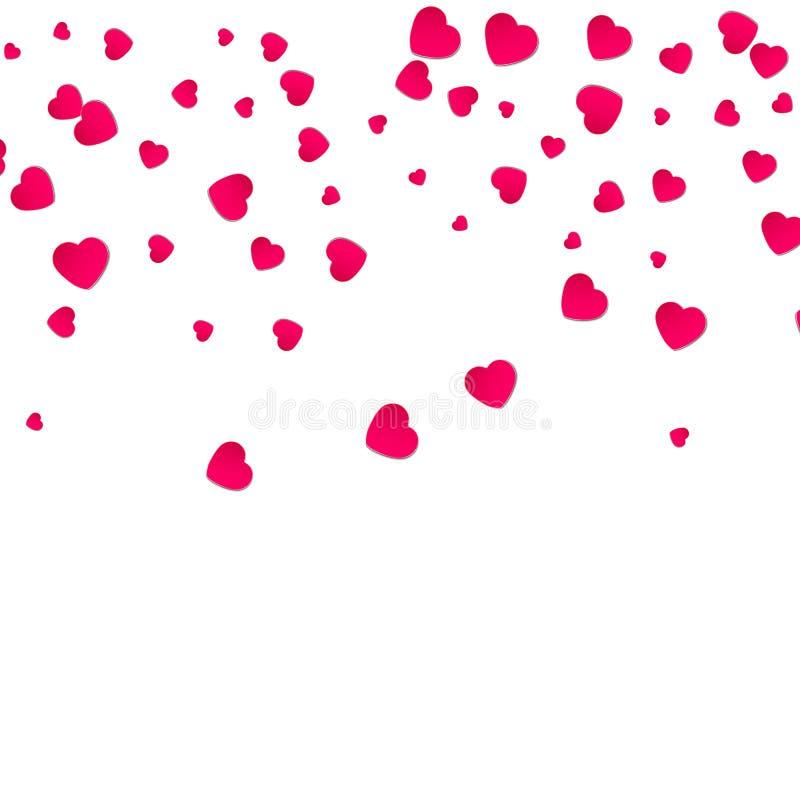 Röd modell av slumpmässiga fallande hjärtakonfettier Gränsa designbeståndsdelen för det festliga banret, hälsningkortet, vykort stock illustrationer
