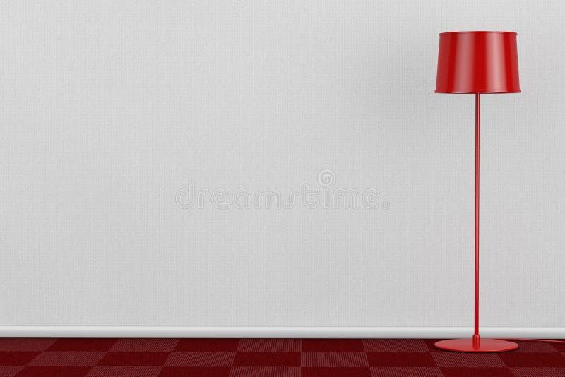 Röd modern golvlampa i rum med golvet för röd matta och vit Wa royaltyfri illustrationer