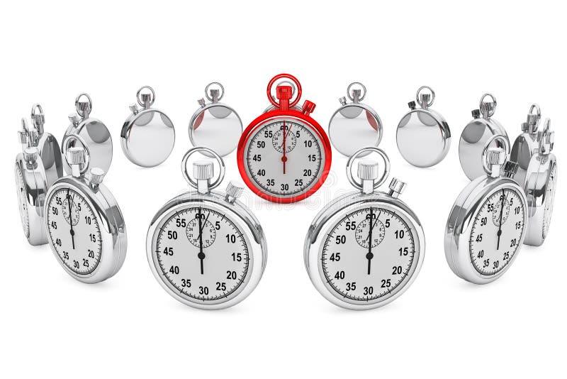Röd modern Stopwatch vektor illustrationer
