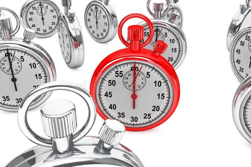 Röd modern Stopwatch stock illustrationer