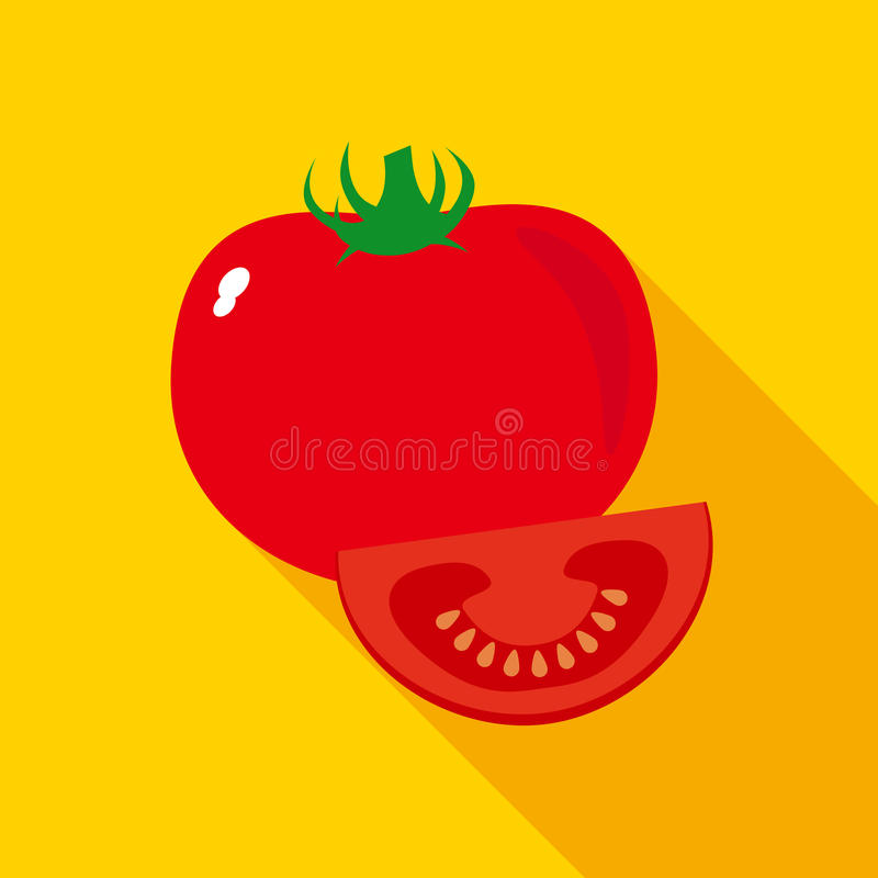 Röd mogen tomat i plan stil vektor illustrationer