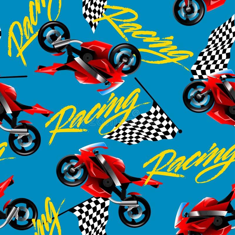 Röd motorcykel som springer med den sömlösa modellen för rutig flagga vektor illustrationer