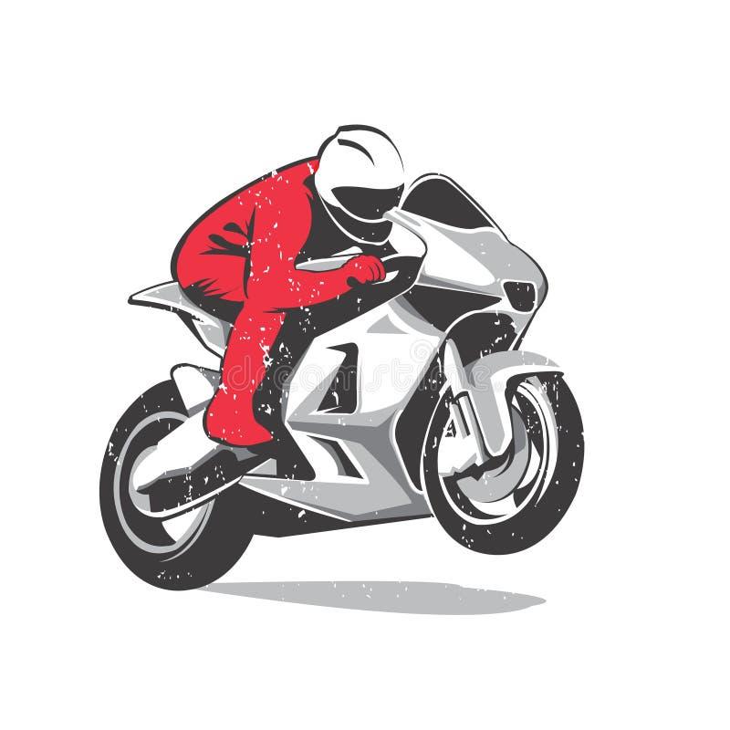 Röd motorcykeltävlingsförare royaltyfri illustrationer