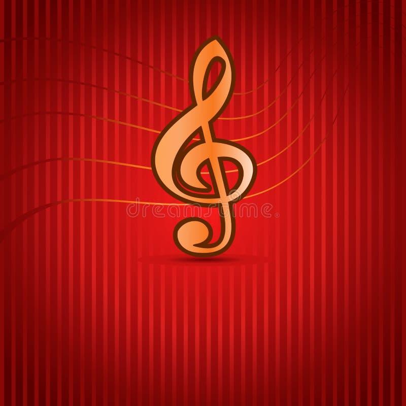 Röd musikbakgrund med Trebleklav stock illustrationer