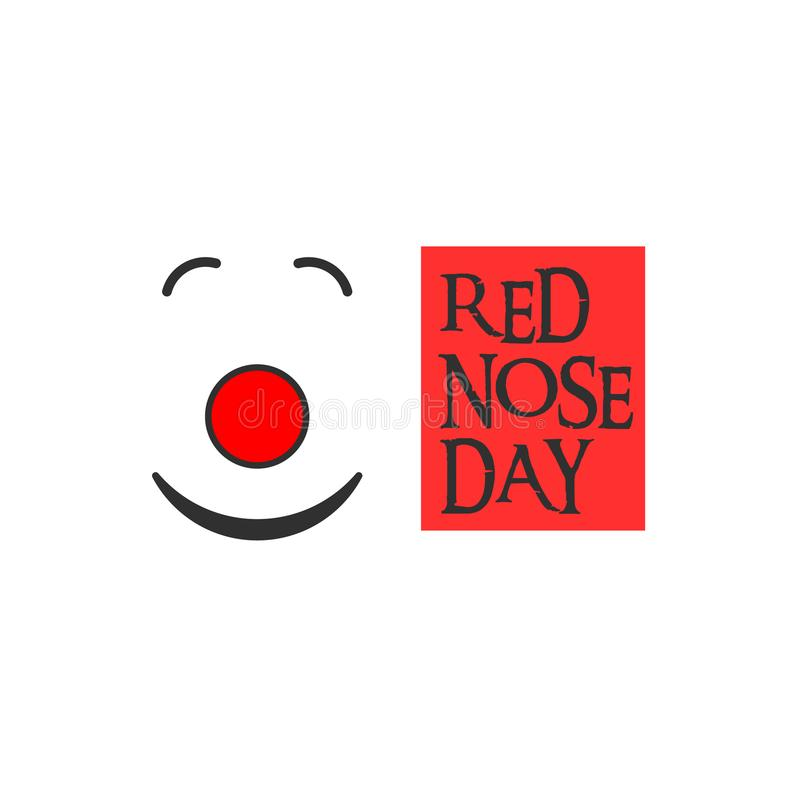 Röd näsclown, röd näsdag och text royaltyfri fotografi