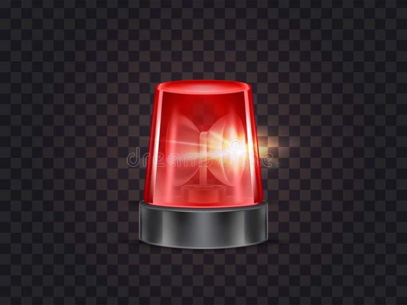 Röd nöd- blinkande fyr för vektor med siren stock illustrationer