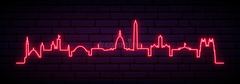Röd neonhorisont av den Washington staden royaltyfri illustrationer