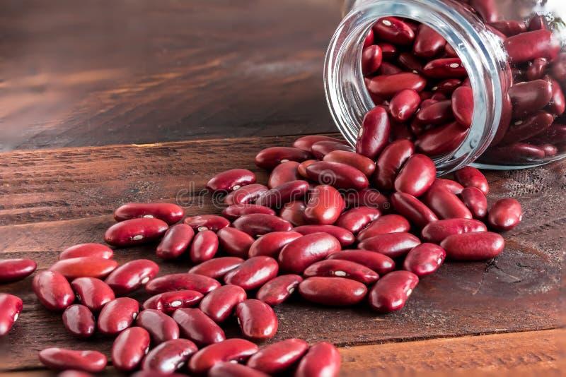 Röd njureböna i glasflaska fotografering för bildbyråer