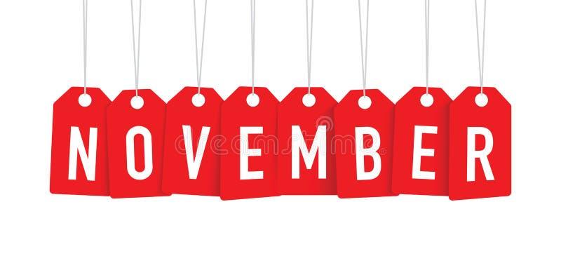 Röd November etikett stock illustrationer
