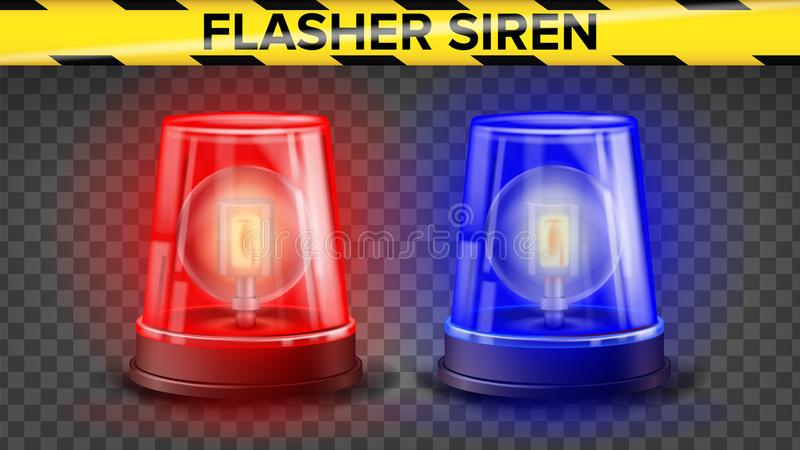 Röd och blå blinkersirenvektor realistiskt objekt 3d Ljus effekt Rotationsfyr Ambulans för polisbilar nödläge vektor illustrationer