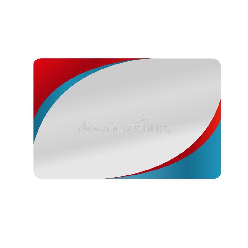 Röd och blå design för silveraffärskort stock illustrationer