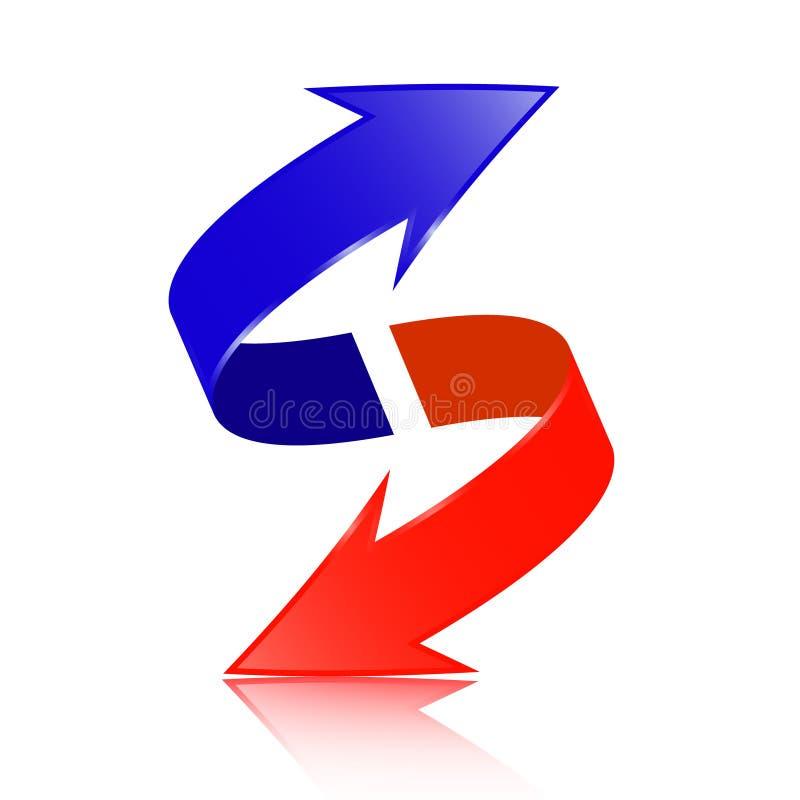 Röd och blå dubbel pilvektor vektor illustrationer