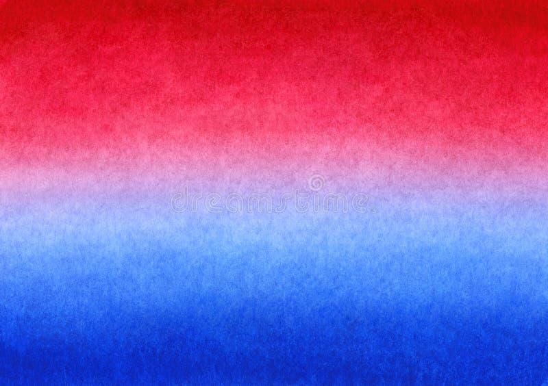 Röd och blå handgjord målad vattenfärglutningbakgrund på texturerat papper royaltyfri illustrationer