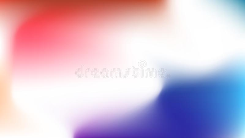 Röd och blå lutningrengöringsdukmodell för tapet, horisontal och ljust Vita mjuka vågor för smartphone lockscreen malltextur vektor illustrationer