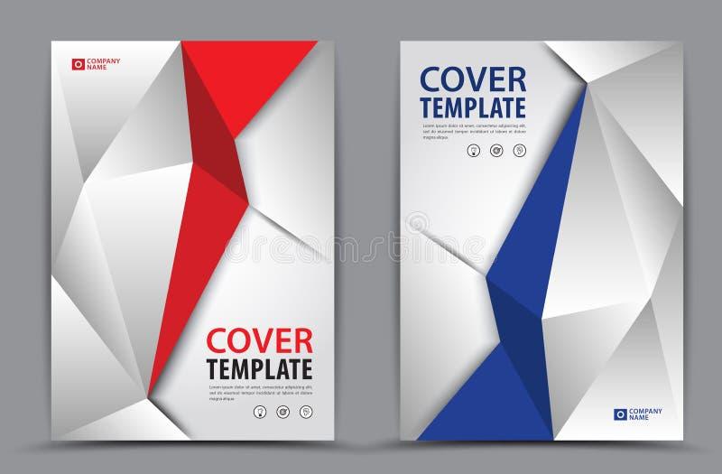 Röd och blå polygonal bakgrund för räkningsmall, vertikal orientering, affärsbroschyrreklamblad, årsrapport, bok vektor illustrationer