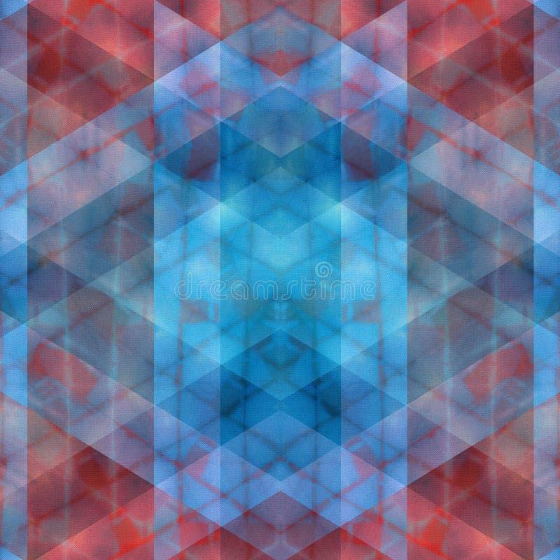 Röd och blå vibrerande suddig geometrisk abstrakt sömlös modell stock illustrationer