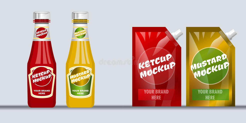 Röd och brun ketchup för Digital vektor royaltyfri illustrationer
