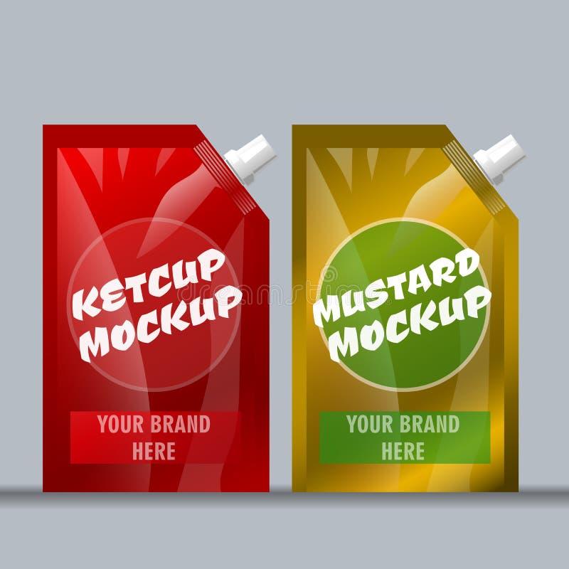 Röd och brun ketchup för Digital vektor och senap vektor illustrationer