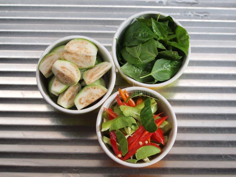 Röd och grön chili för ingrediens -, thailändsk basilika, thailändsk aubergine fotografering för bildbyråer