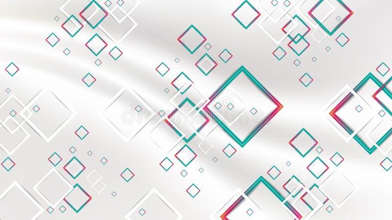 Röd och grön geometrisk fyrkantbakgrund för abstrakt lutning stock illustrationer
