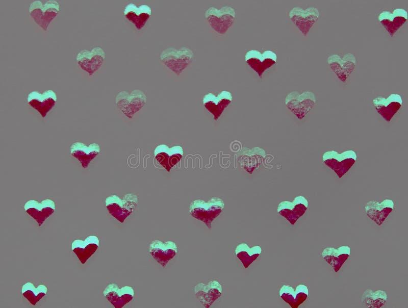 Röd och grön hjärtavattenfärg stock illustrationer