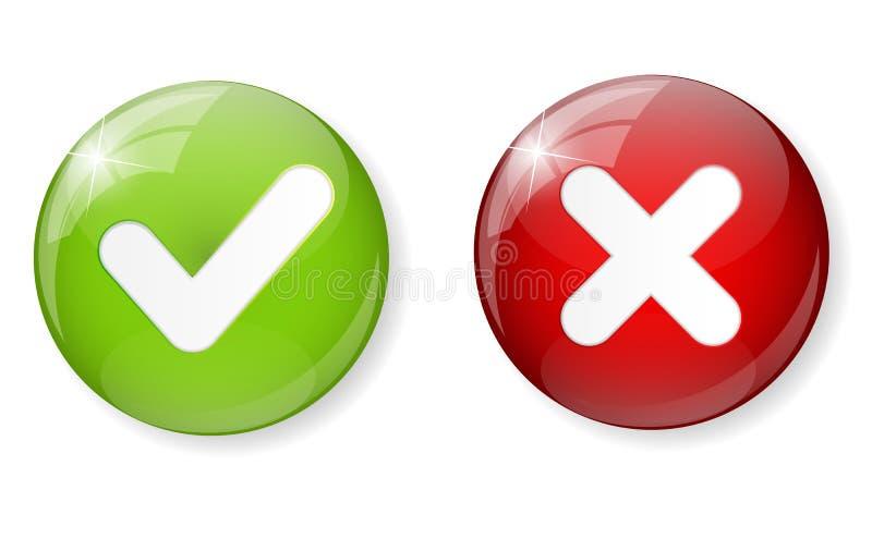 Röd och grön kontroll Mark Icon Button Vector royaltyfri illustrationer