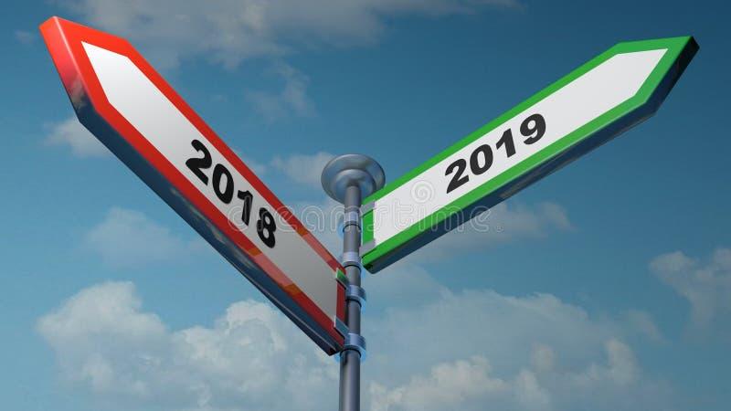 2018 - röd 2019 och grönt pilgatatecken som pekar till vänstert och högert - illustration för tolkning 3D royaltyfri illustrationer