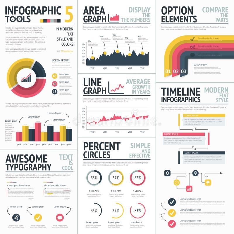 Röd och gul infographic vektor för beståndsdeluppsättning stock illustrationer