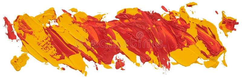 Röd och gul prickig slaglängd för borste för oljatexturmålarfärg royaltyfri illustrationer